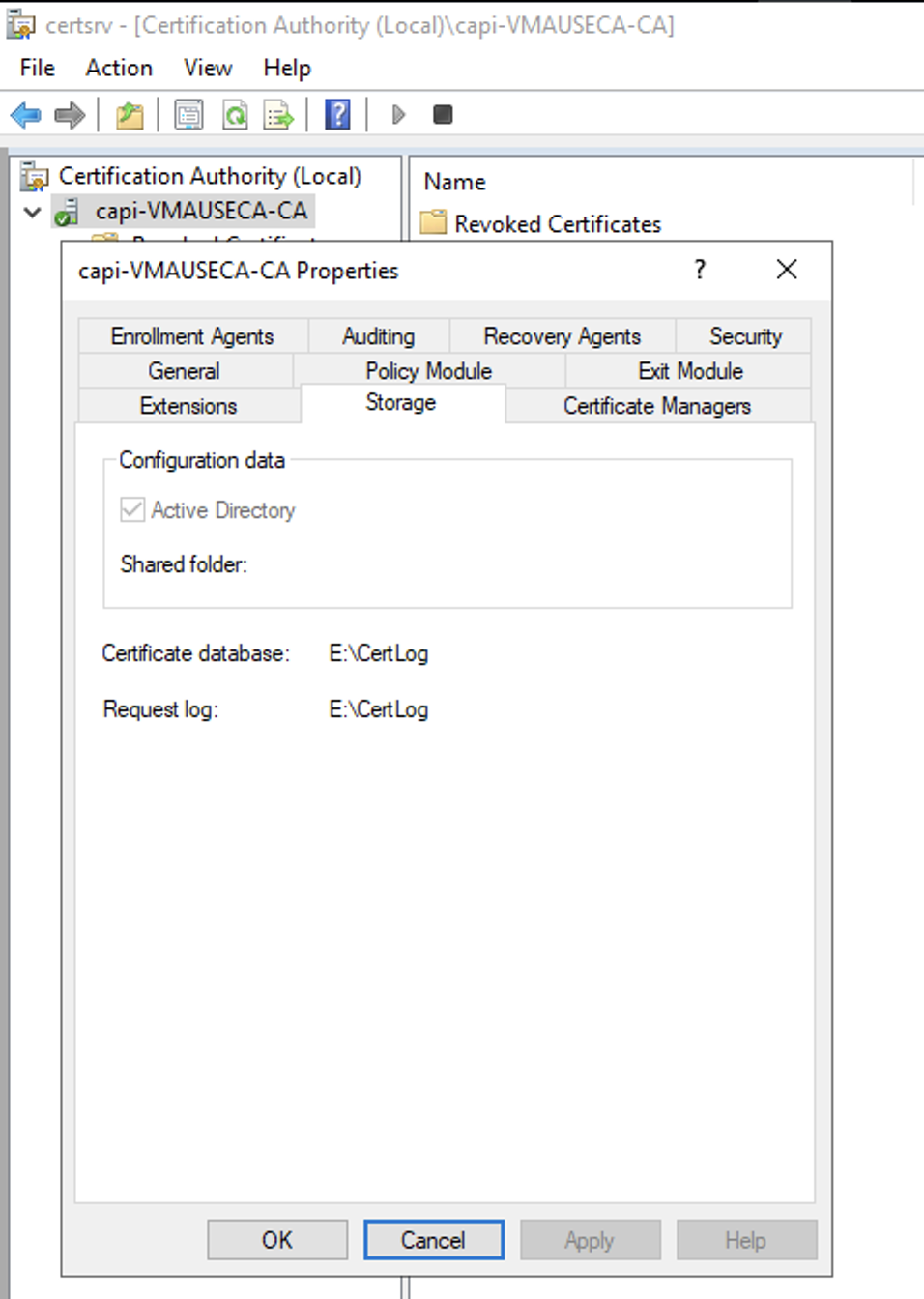 Right click on the CA properties and select Storage