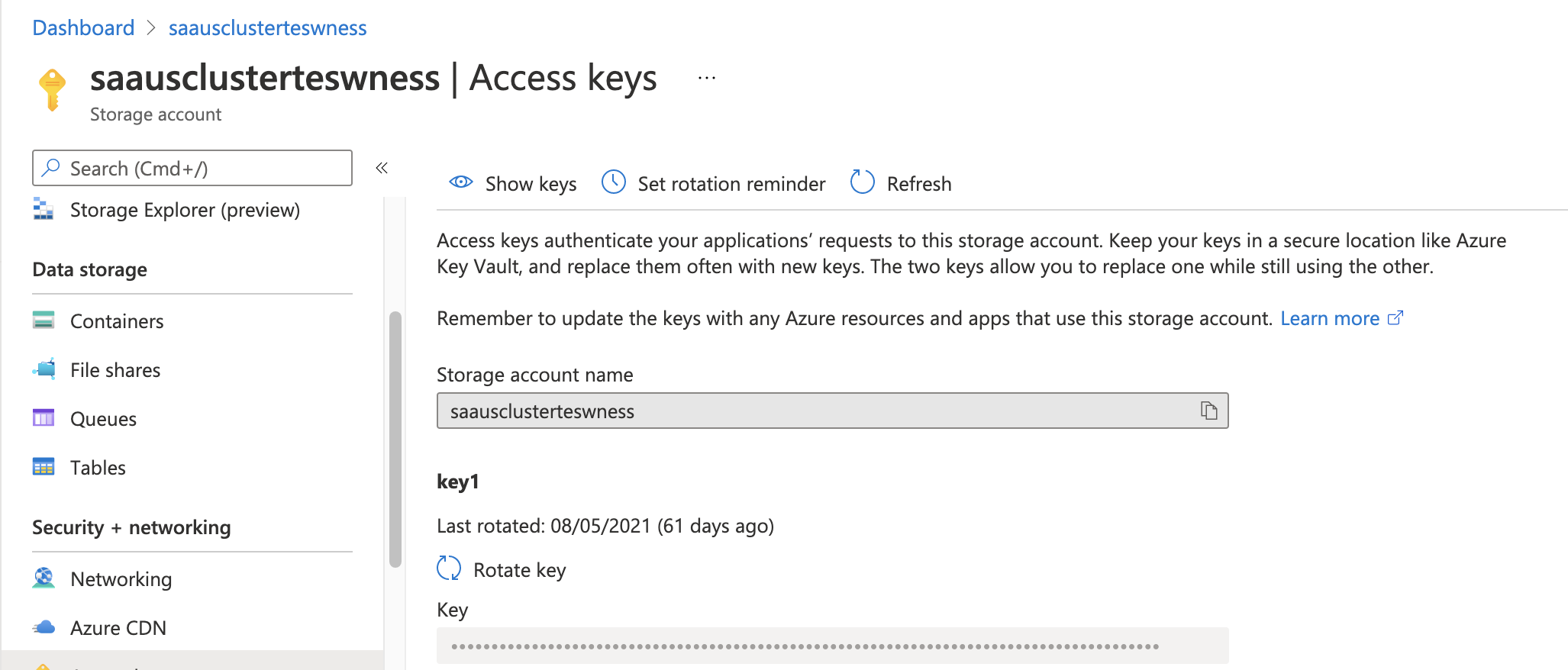 Take note of the access key and name for the storage account