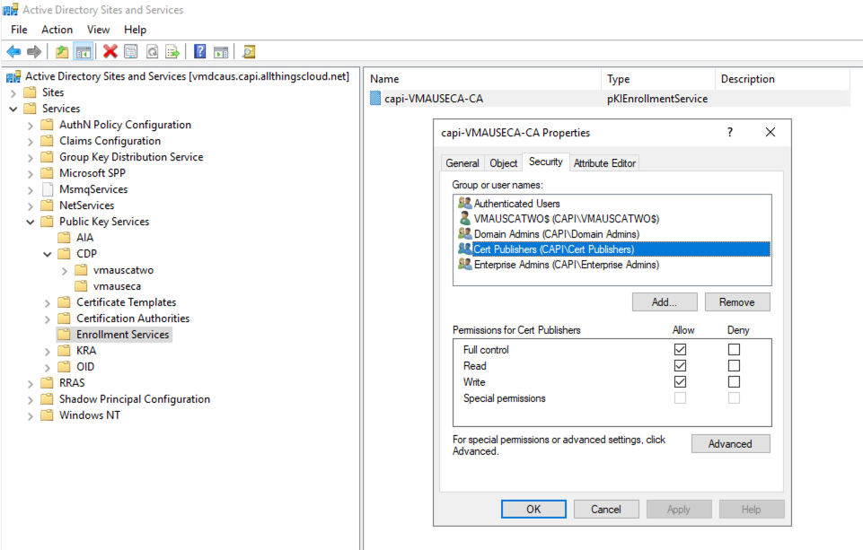 Give both nodes permissions on the Enrolment container