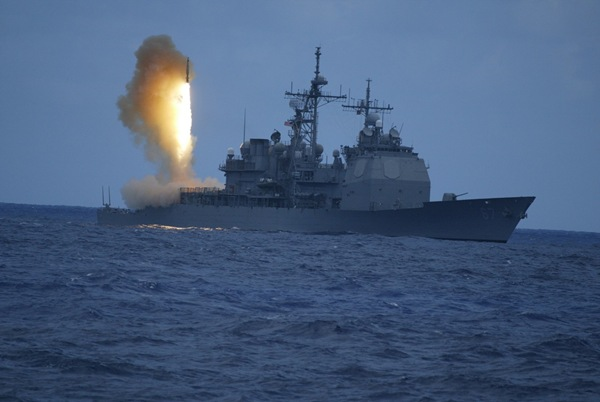 A Standard Missile-3 (SM-3) is launched from the U.S. Navy cruiser, USS Lake Erie (CG-70) in a Missile Defense Agency test aimed at developing a sea-based defense against short to medium range ballistic missile threats.