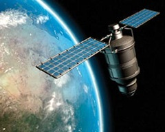 This image provided by NASA shows an artist concept of an Iridium satellite in earth orbit. Two big communications satellites collided in the first-ever crash of its kind in orbit over Siberia Tuesday Feb. 10, 2009, shooting out a pair of massive debris clouds.